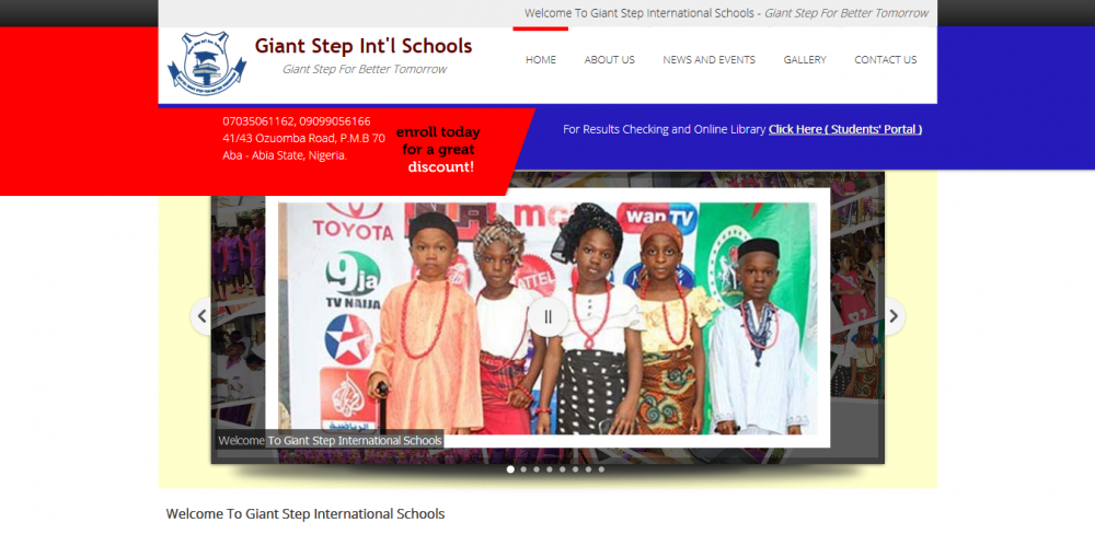Giant Step Int'l Schools Abia State – Website and Software